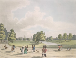 A view in St James' Park of the Horse Guards & St Paul's